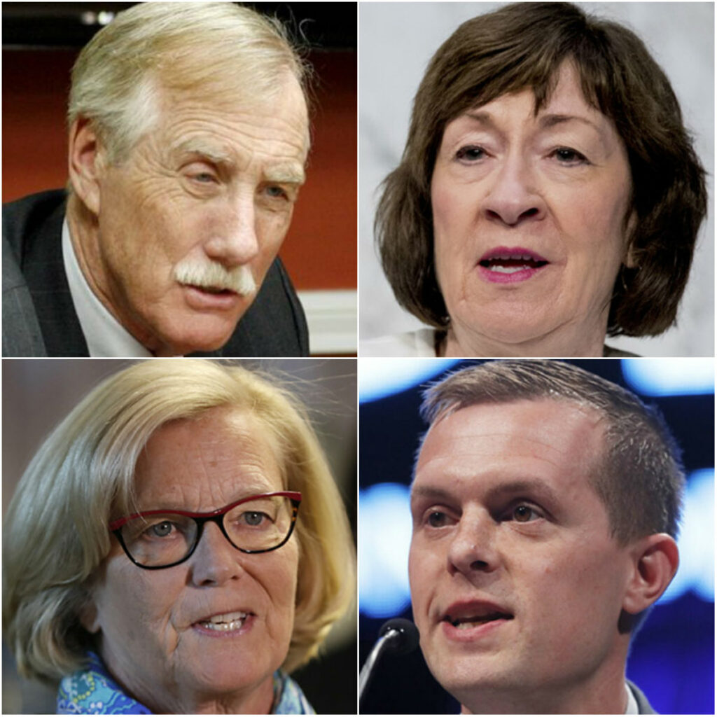 Clockwise from top left: Sen. Angus King, Sen. Susan Collins, Rep. Jared Golden and Rep. Chellie Pingree