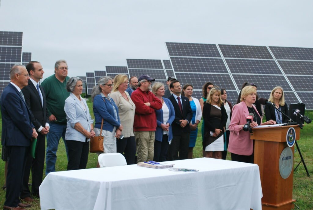 On Wednesday Maine Gov. Janet Mills signed into law new initiatives to expand solar power and clean energy in Maine. The bill-signing ceremony was in front of solar panels at Pittsfield Solar, a subsidiary of Cianbro Corporation.