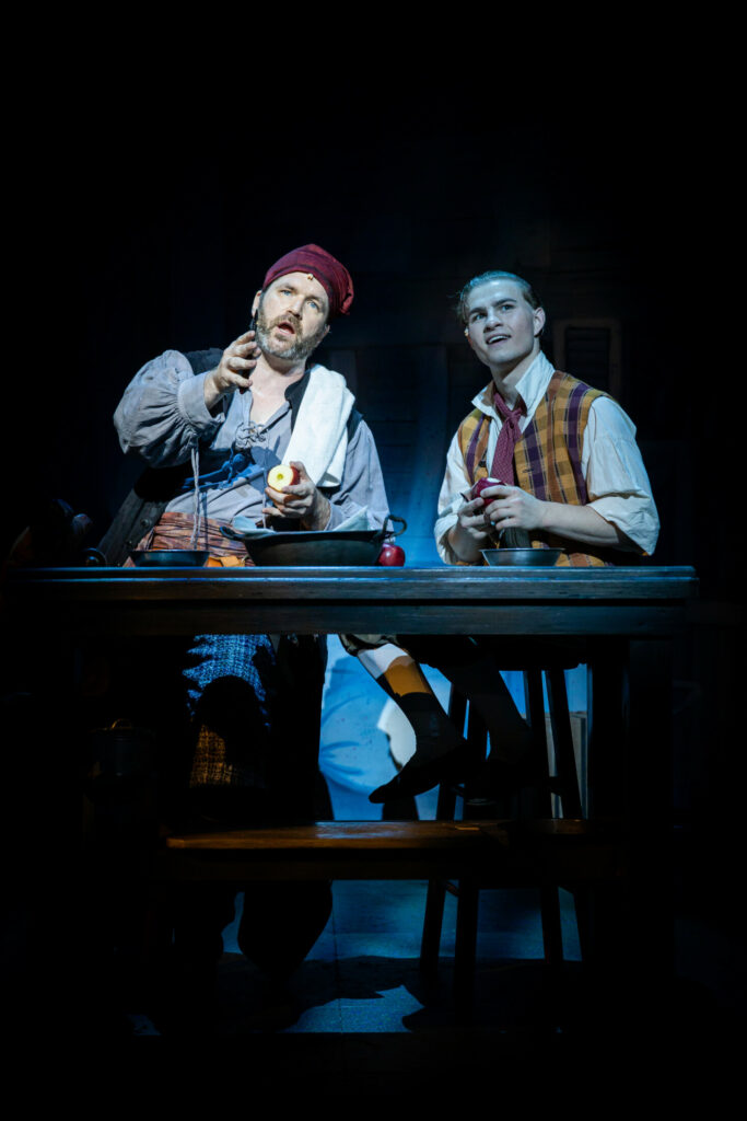 "Aaron Ramey (Long John Silver) and Michael William Nigro (Jim Hawkins) in ""Treasure Island."""