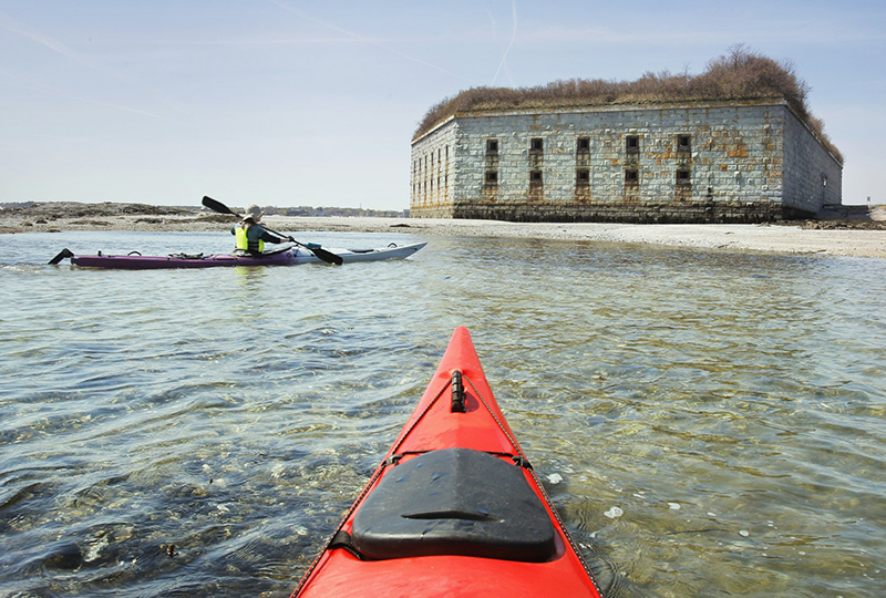 Paddling to a beach during low tide at Fort Gorges in Casco Bay.