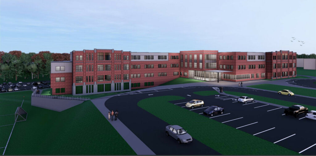 An architect's rendering of the concept design for the proposed new South Portland middle school. The cost of the project is now $71.5 million.
