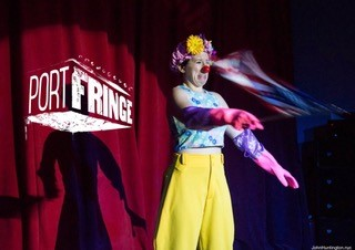 Penelope the Clown performs at PortFringe this week.