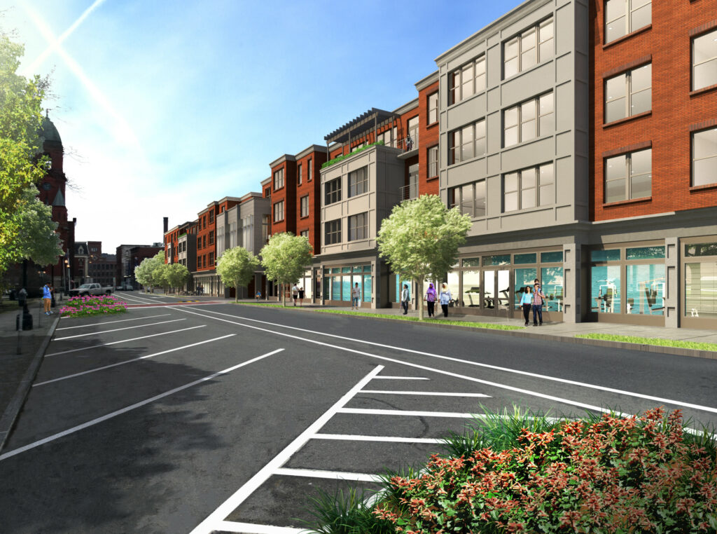 "A ""transformation"" plan for downtown Lewiston and the Tree Streets neighborhood includes a 66-unit, mixed-use development on a stretch of Pine Street."