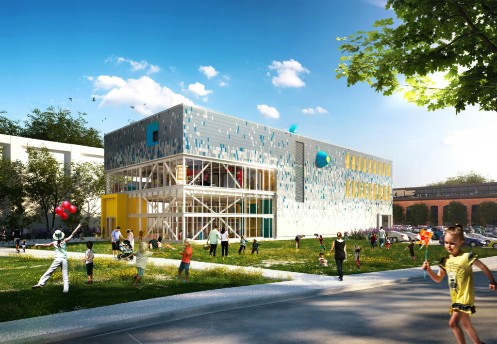 This rendering shows the building planned by the Children's Museum & Theatre of Maine at Thompson's Point in Portland.