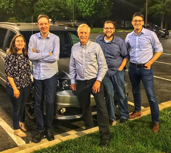 Sen. Angus King, center, and his travel companions on the drive to Maine – from left to right, Rebecca Gibbons, Ramon Krikken, Matt Dusoe and Tim Schneider – stopped north of Baltimore Thursday night to take a photo King posted to his Instagram account.