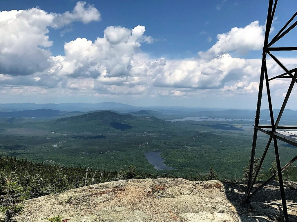 The view northward from the old fire tower atop Number Five Mountain is grand.