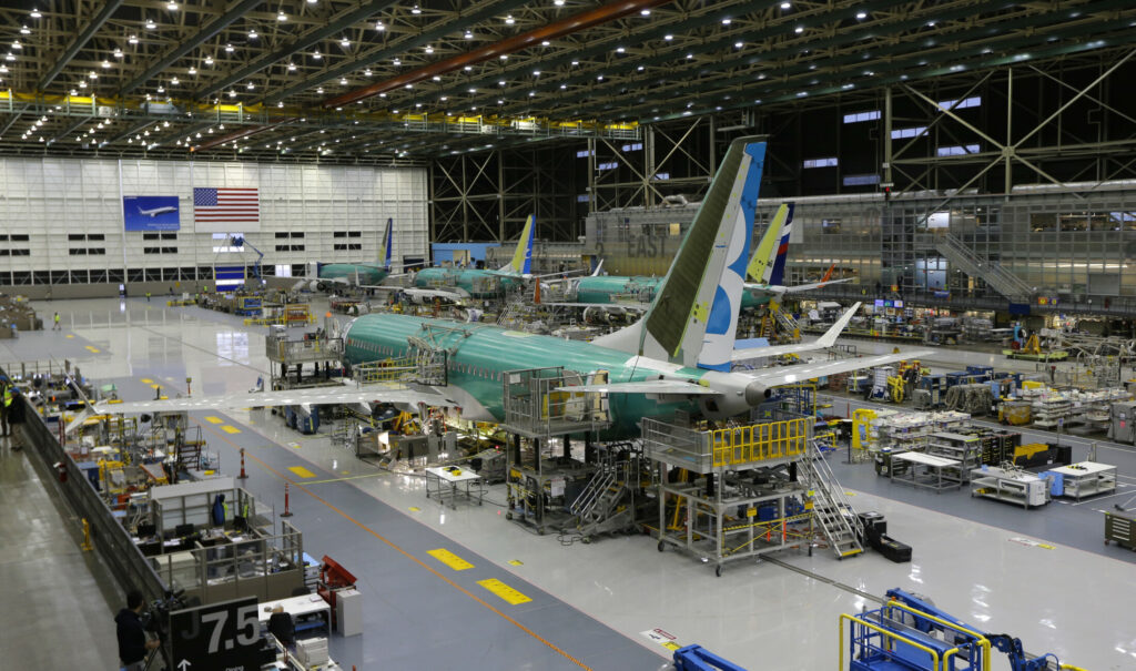 A Boeing 737 Max on an assembly line in Renton, Wash., in 2015