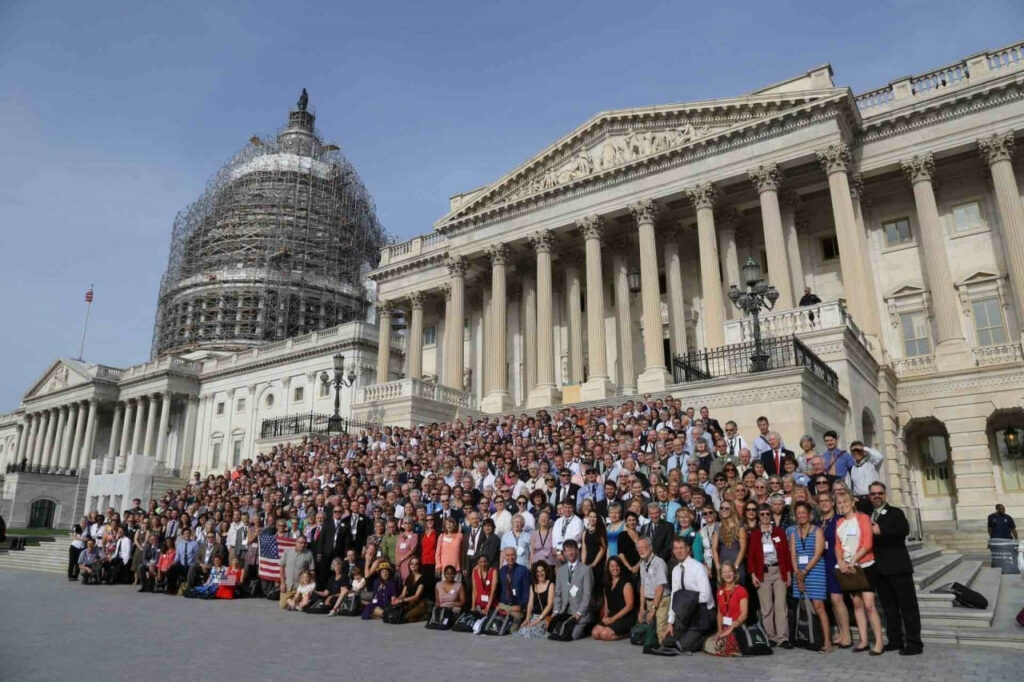 Citizens' Climate Lobby teams gather in 2015 in front of the Capitol Building in Washington, D.C.