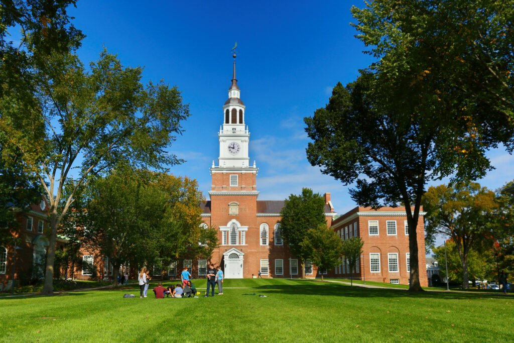 Baker Library sits at one end of the Dartmouth College green. Once upon a time, cows grazed there.