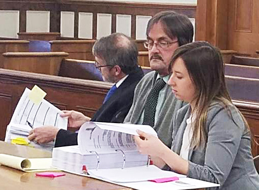 Randall Weddle, center, sits with his attorneys, Christopher MacLean and Laura Shaw, in Knox County Superior Court on Jan. 22, 2018. His appeal of convictions in a fatal crash in 2016 could set a precedent for drunken-driving investigations in Maine.