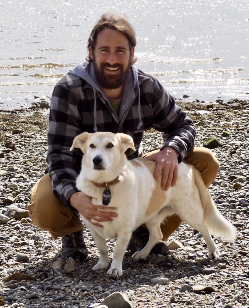 Author Craig Grossi and Fred, former Afghani stray.