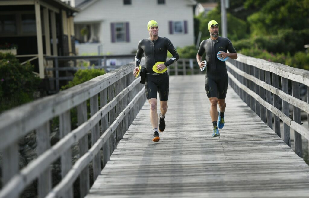 Lars Finanger and John Stevens of Portland are two of the producers of the Casco Bay Islands SwimRun race, slated for Aug. 11. Both have competed in the Swimrun World Championships in Sweden.