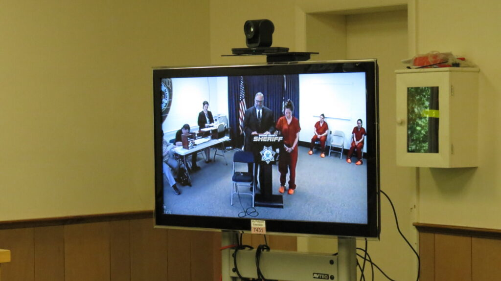 Bethany Ringuette appears Wednesday via video conference before Judge Nancy Carlson at Oxford County District Court. Ringuette was at the Oxford County Jail.
