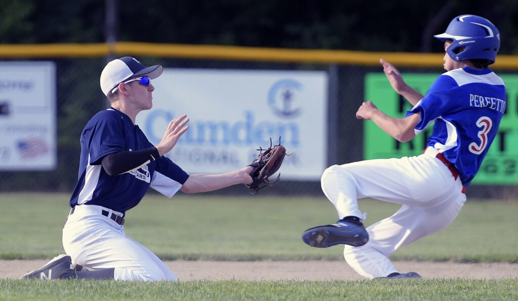 Capital Area's Liam Perfetto gets picked by Franklin's Issac Parker at second during a Babe Ruth tournament game Tuesday in Augusta.