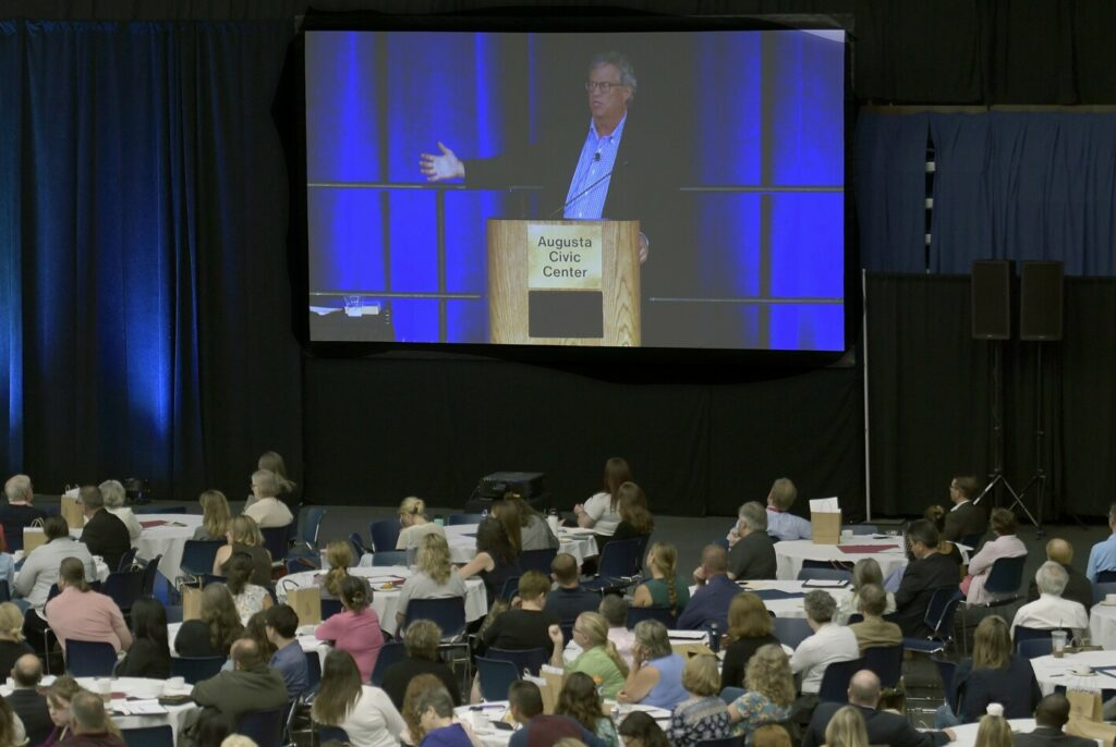 "Sam Quinones, author of the book ""Dreamland,"" speaks Monday at the governor's opioid conference in Augusta."