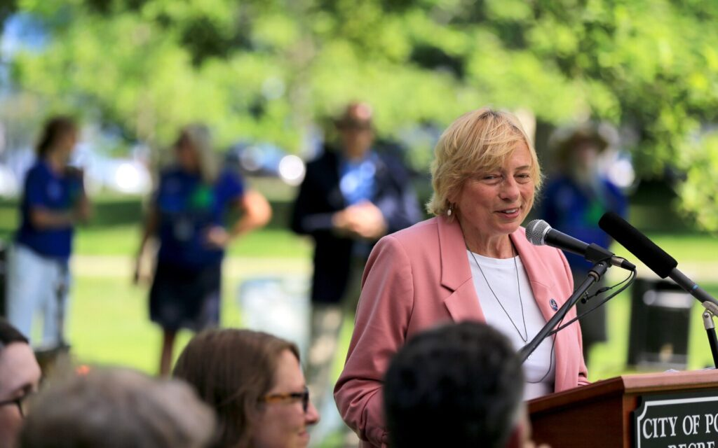 Gov. Janet Mills speaks during a ceremony kicking off Maine's bicentennial in Deering Oaks, one of four such events Mills attended throughout the state on Tuesday.