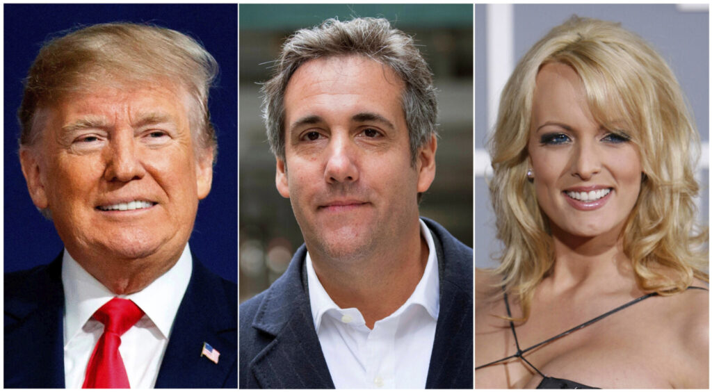 This combination of file photo shows, from left, President Donald Trump, attorney Michael Cohen and adult film actress Stormy Daniels. Search warrants unsealed Thursday, July 18, 2019, shed new light on the president's role as his campaign scrambled to respond to media inquiries about hush money paid to two women who said they had affairs with him. The investigation involved payments Cohen helped orchestrate to Daniels and Playboy centerfold Karen McDougal.