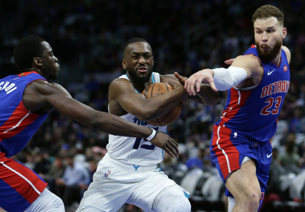 Kemba Walker, center, thanks many people on his way to Boston in a post for the Players' Tribune website, including Charlotte Hornets owner and former NBA great Michael Jordan.