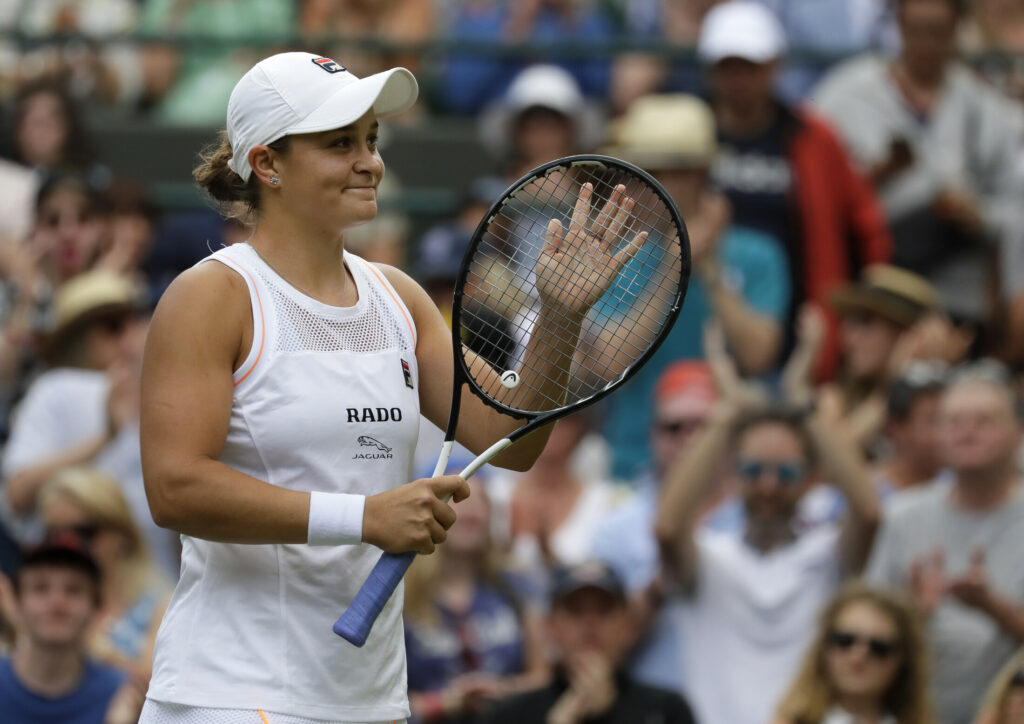 Ashleigh Barty celebrates after beating Saisai Zheng, 6-4, 6-2, in their first round match at Wimbledon on Tuesday.