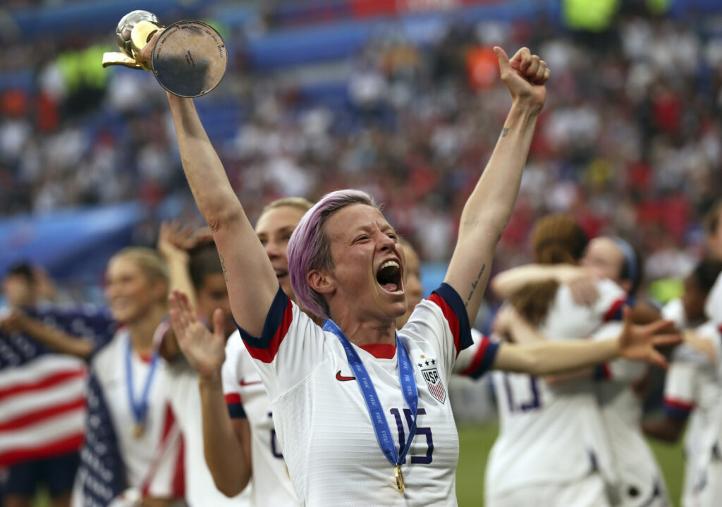 Megan Rapinoe holds the trophy at the end of the Women's World Cup final  between the U.S. and the Netherlands at the Stade de Lyon in Decines, France, on Sunday. The U.S. defeated the Netherlands, 2-0.