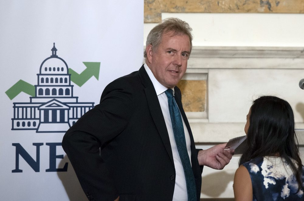 """Leaked diplomatic cables published Sunday in a British newspaper reveal that Britain's ambassador to the United States, Sir Kim Darroch, described President Trump's administration as """"clumsy and inept"""" while grappling with international problems."""
