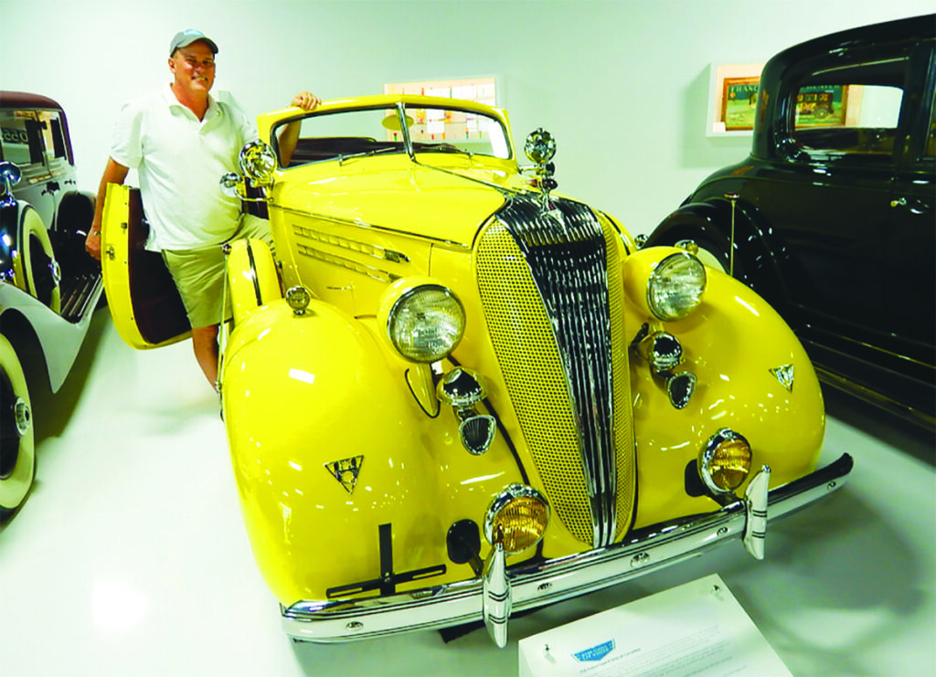 Tim Stentiford of the Maine Classic Car Museum shows off a 1936 Hudson Super 8 at the museum in Arundel. More than 160 rare, vintage and classic cars are in the museum's collection.