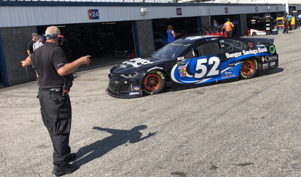 Fort Kent's Austin Theriault pulls into his garage stall Saturday during a Monster Energy NASCAR Cup Series practice session at New Hampshire Motor Speedway in Loudon, N.H.