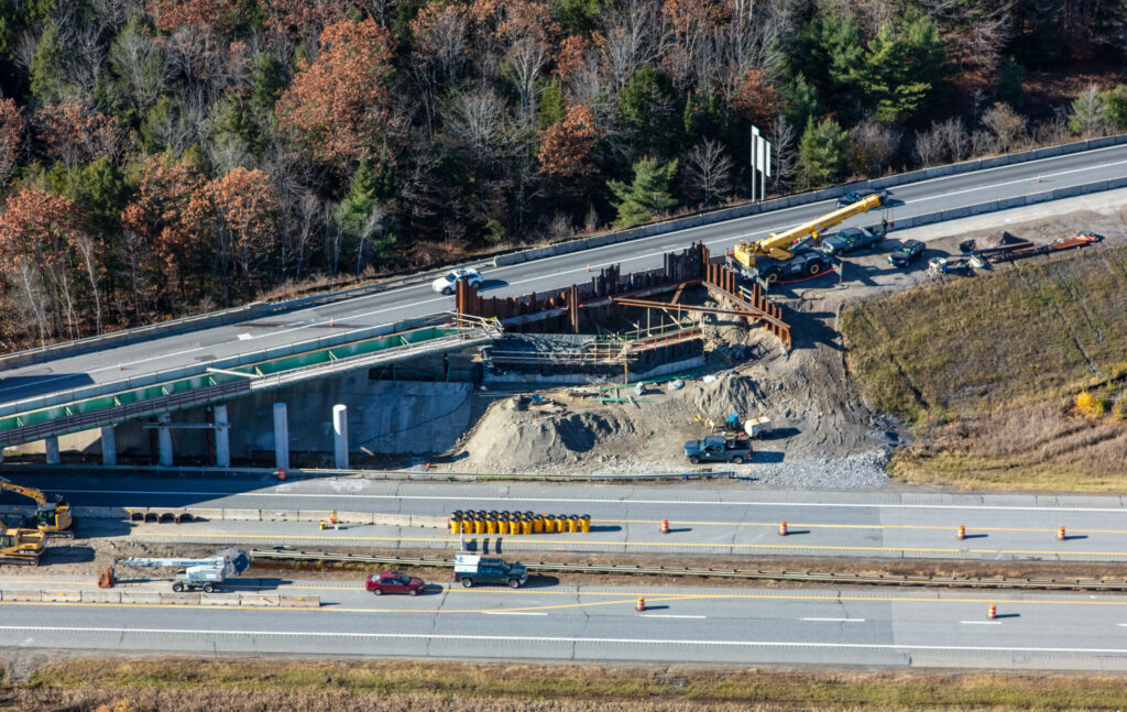 An aerial view of the work taking place at Exit 103 of the Maine Turnpike in West Gardiner.