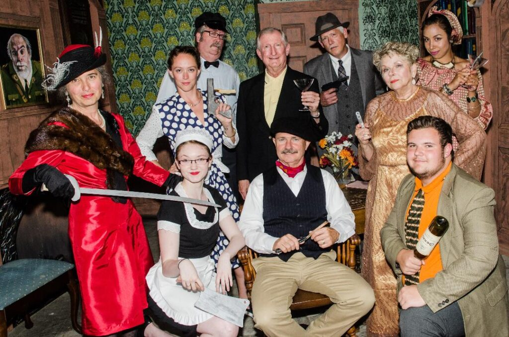 "The cast for ""The Musical Comedy ""Murders of 1940"" includes: In front, from left, Jan Collins, Delaney Crocker, Steve Linder and Andre Niles; second row, from left, Allison Kuhns, Don Petersen and Betsy Bransky; in back, from left, Chris Crocker, Tim Davis and Rocio Carey."