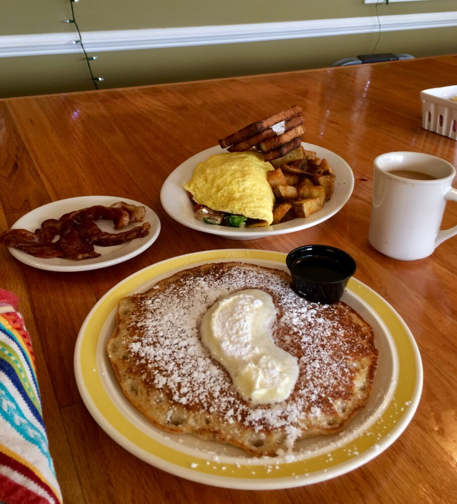 The vegetable-and-feta omelet was farm-fresh and the pancakes were so flavorful - you'd never know the latter was gluten free. But the Runway Restaurant aims to please all with their scratch baking and farm-to-kitchen options, even those with restrictive diets.