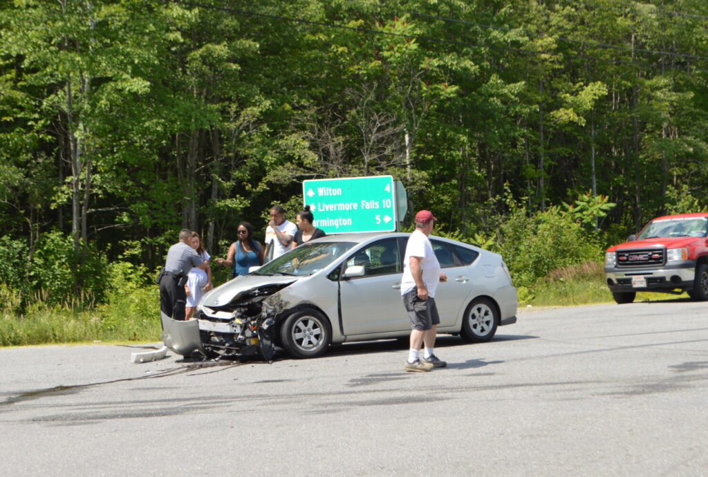 A car driven by Aya Mohamed, 27, of New York and a pickup driven by Kelly Collins, 51, of Dixfield collided Monday morning at the intersection of McCrillis Corner Road and Route 133 in Wilton.