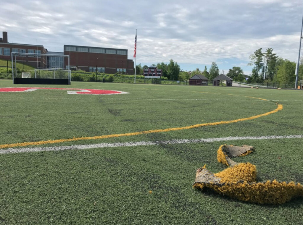 One of the bond questions seeks to use $1.2 million to fix the turf field at Scarborough High School in need of extensive repair.