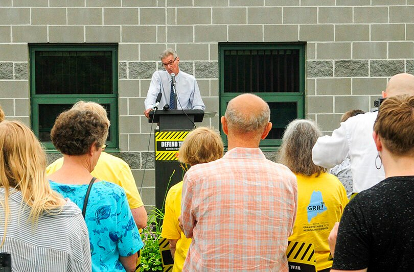 """I just can't believe that they are so arrogant as to impose this rule on trusted medical providers in our state while the litigation is happening,"" said George Hill, president and CEO of Maine Family Planning, shown at a rally in July 2018."