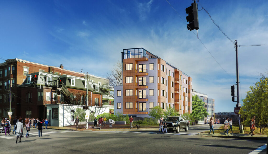 In a rendering by Archetype Architects, Verdante is seen from the intersection of Congress and Franklin streets.