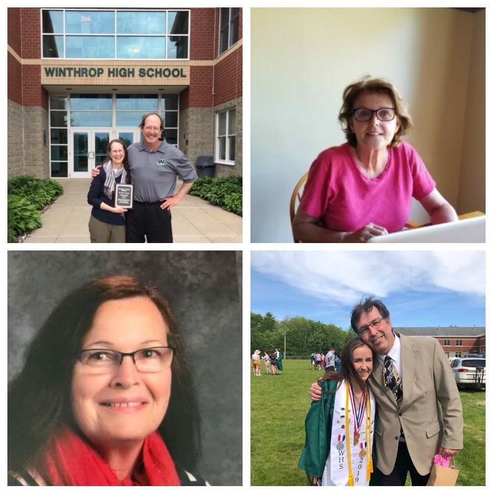 Clockwise from top left: Nancy Kelley, with her husband, Marc; Beth Salois; Dave Poulin, with student Nora Conrad; and Mary Dumais.