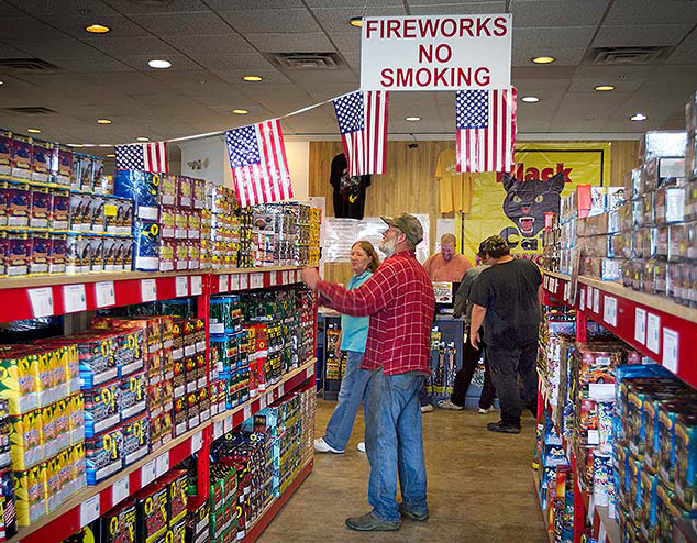 Fireworks fill the shelves at a Pyro City  store in Winslow in 2014.