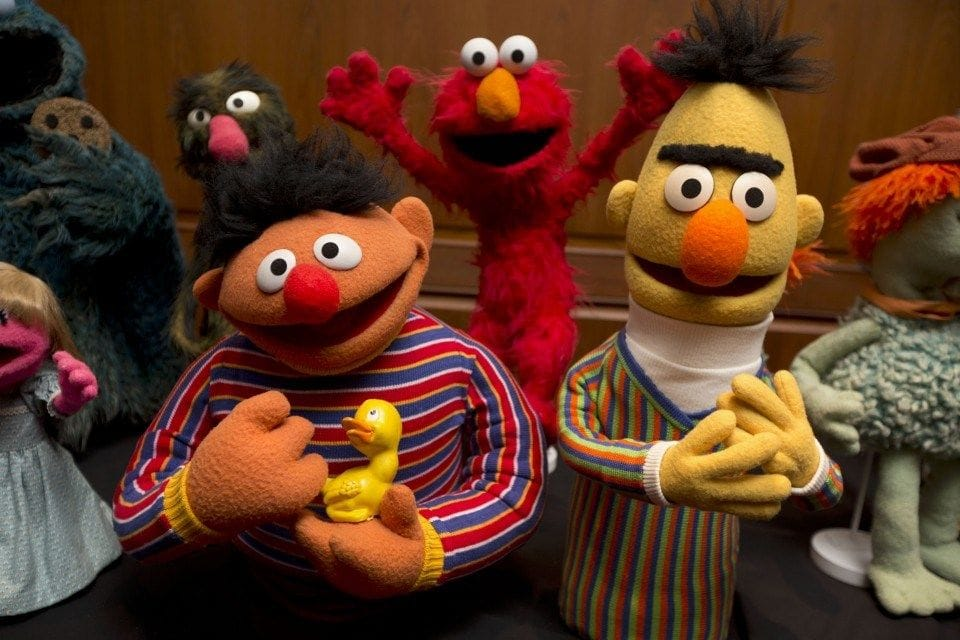 'Sesame Street's' Bert and Ernie are seen at the Smithsonian's National Museum of American History in 2013.