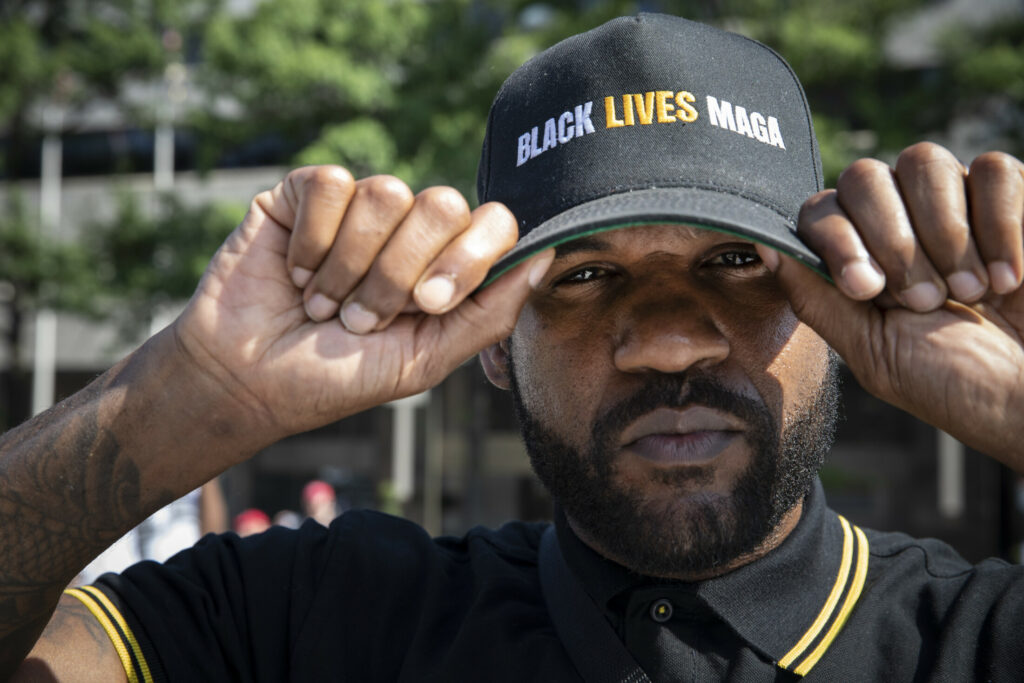 Edwin Arthur of Los Angeles arrives for the right-wing rally in Washington. Police had earlier broken up a clash between antifa and the Proud Boys, a self-proclaimed Western-chauvinist fraternal organization that promotes ending welfare and closing the borders.