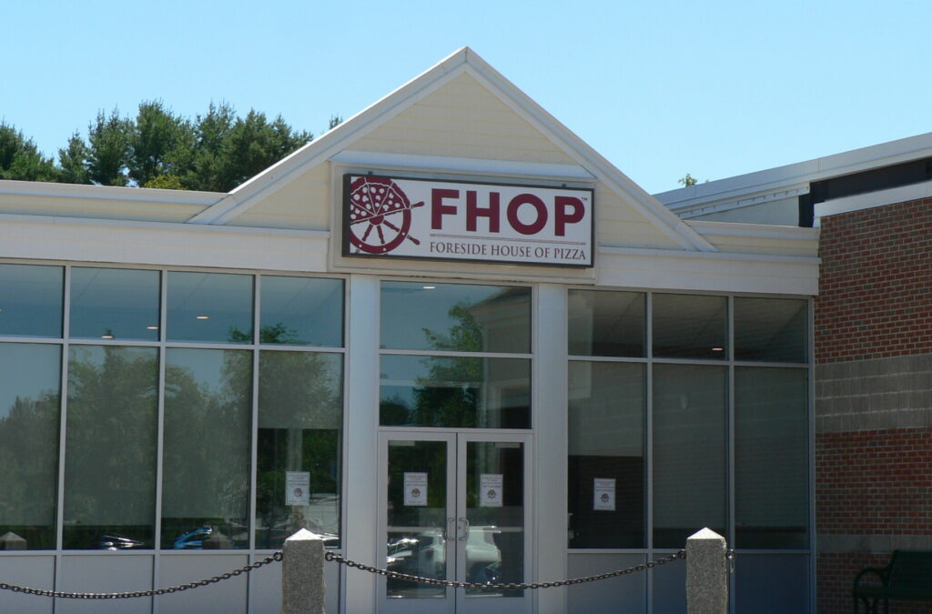 Operators of the Foreside House of Pizza on Route 1 in Falmouth were recently ordered to stop using the FHOP logo by a Cumberland County Superior Court judge.