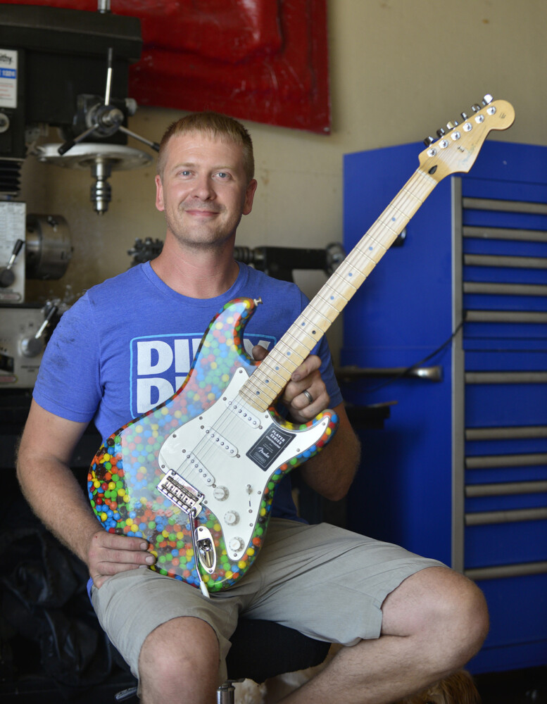 Brian King spent 80 hours building this guitar with M&Ms.