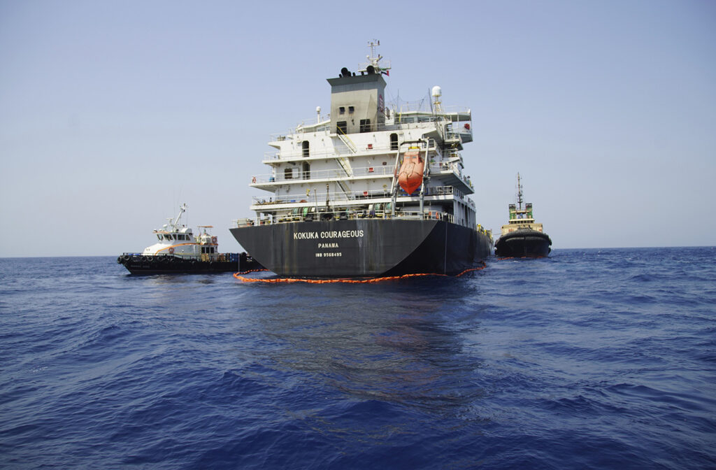 The Panama-flagged, Japanese owned oil tanker Kokuka Courageous anchored off Fujairah, United Arab Emirates, during a trip organized by the Navy for journalists on June 19.