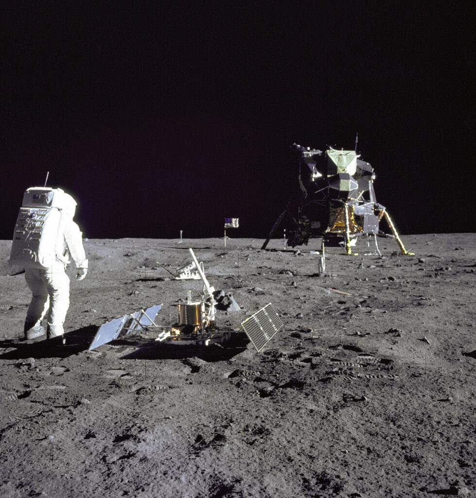Apollo 11 astronaut Buzz Aldrin on the moon, July 20, 1969.