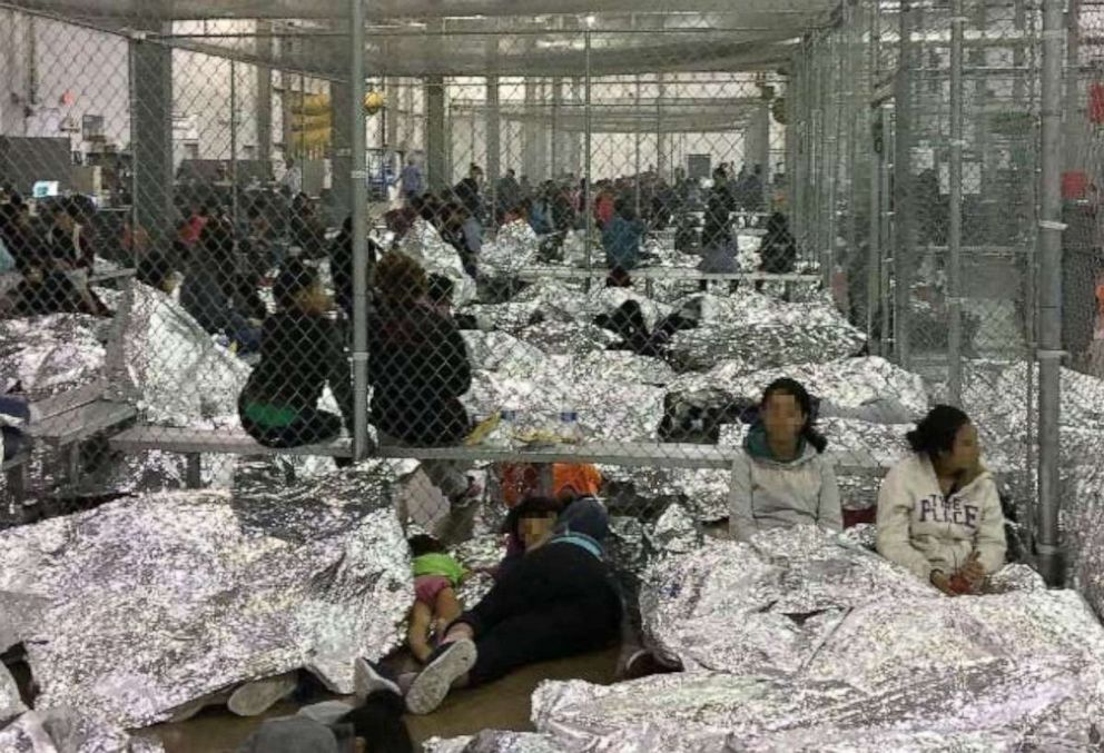 Overcrowding of families observed by the Office of Inspector General, June 11, 2019, at Border Patrol's McAllen, Texas, Centralized Processing Center.