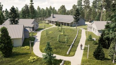An artist's rendering of the living spaces to be built at Bowdoin's Schiller Coastal Studies Center in Harpswell as part of a multimillion dollar expansion project.