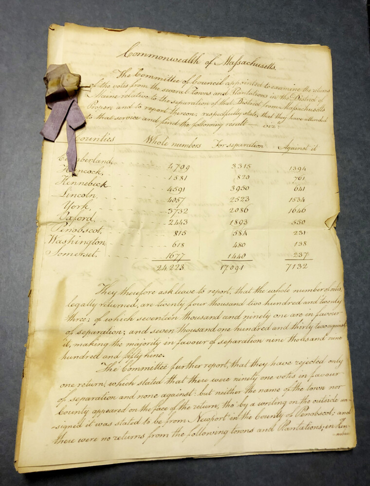 "An original copy of the ""committee report"" that shows the statewide vote and the breakdowns by county for separating Maine from the Commonwealth of Massachusetts."