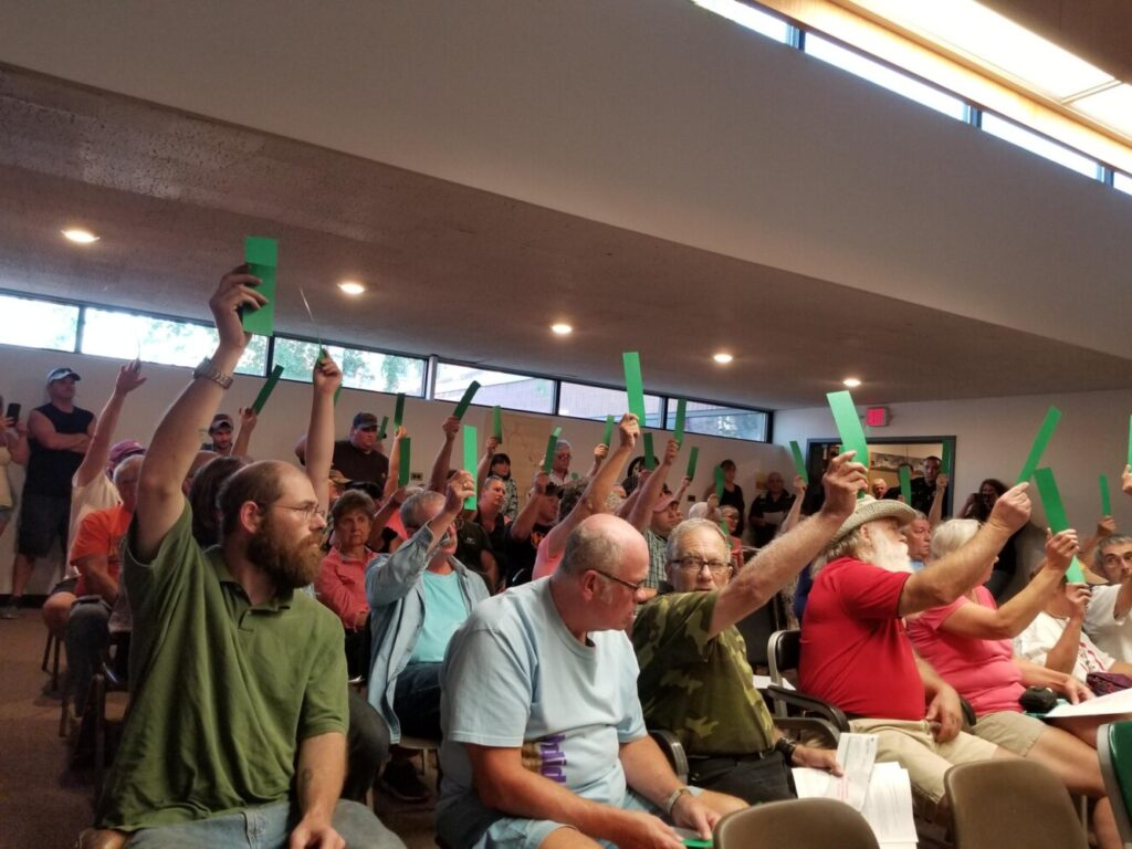 Livermore Falls voters Tuesday night oppose a proposed Central Maine Power transmission line. They also authorized selectmen to send a letter of opposition to CMP and other entities.