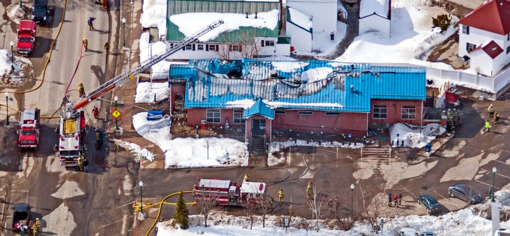 This aerial photo shows the fire damage on Feb. 21, 2017, at U.S. Post Office in Winthrop.