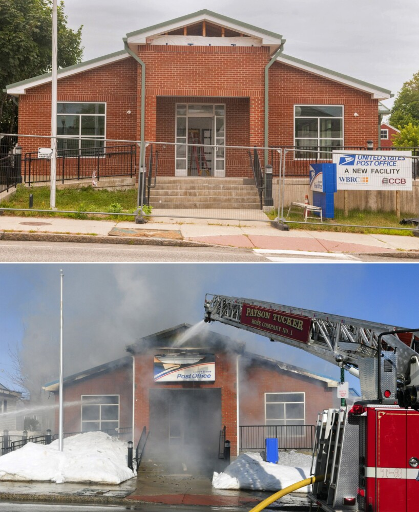 The top photo, taken Aug. 13, shows the new post office building that will replace the one that burned down on Feb. 21, 2017, seen in bottom photo on Main Street in Winthrop.
