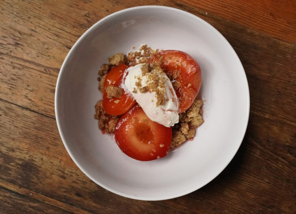 Use up any leftover vermouth when making this fast, easy (and need we say tasty?) stone fruit crumble.