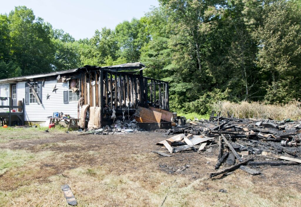 A Friday blaze destroyed a barn and much of the house at 1266 W. Ridge Road in Cornville.